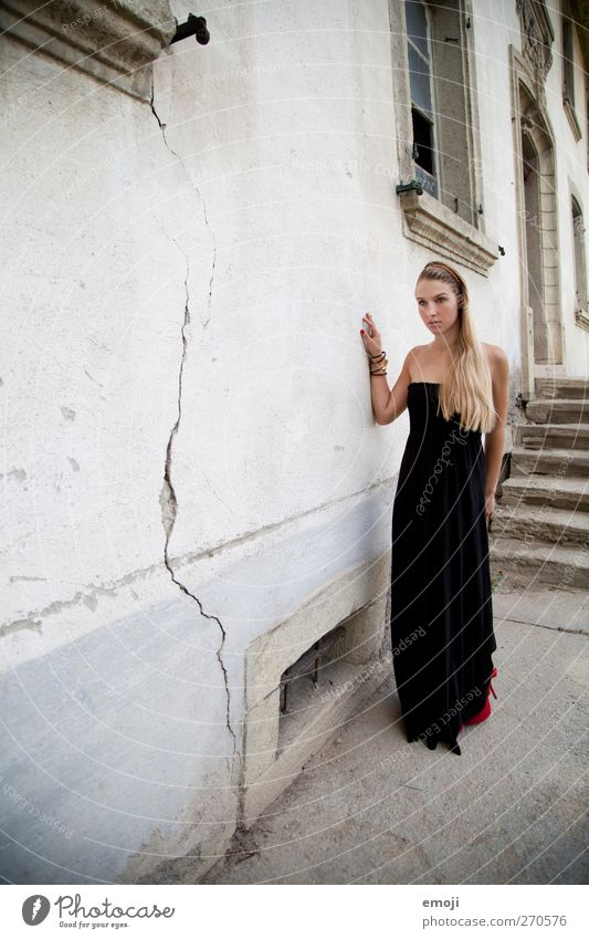 lady Feminine Young woman Youth (Young adults) 1 Human being 18 - 30 years Adults Wall (barrier) Wall (building) Facade Fashion Dress Beautiful Elegant