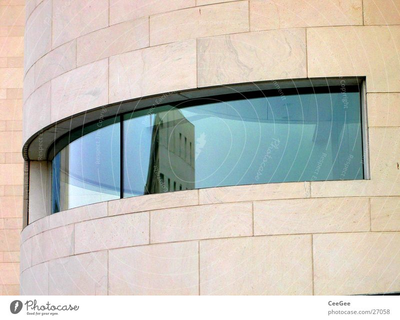 architect's eye Building New building Sandstone Ochre Natural stone Window Opening Reflection Architecture German Historical Museum Eyes Glass Blue