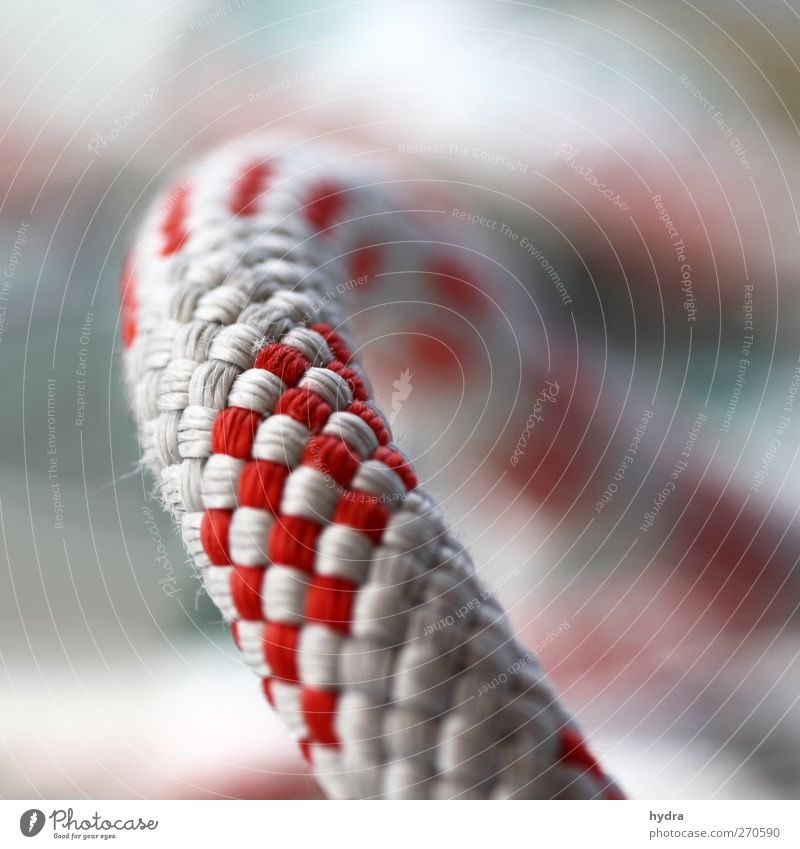 then you dew Sheet Fastener Rope ropes String Gray Red White Plaited Colour photo Exterior shot Close-up Detail Macro (Extreme close-up) Copy Space right
