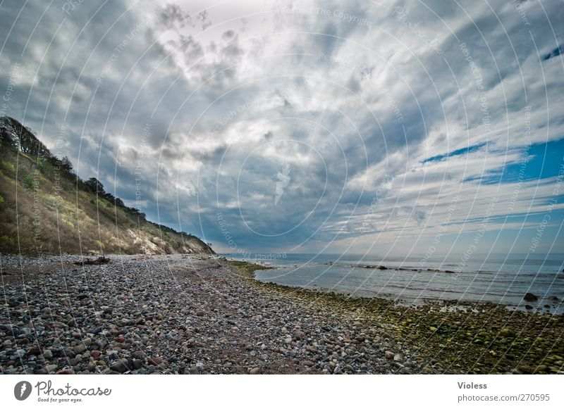 Hiddensee wish you were here..... Landscape Sky Clouds Storm clouds Spring Weather Coast Baltic Sea Ocean Island Dream Threat Wild Stone Cliff Colour photo