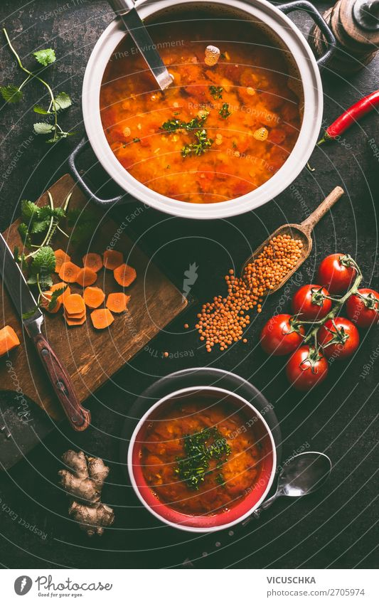 Red lentil soup in the pot and in the bowl Food Soup Stew Nutrition Lunch Dinner Organic produce Vegetarian diet Diet Crockery Bowl Pot Style Design