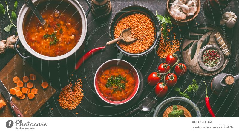 Healthy vegan lentils soup Food Grain Herbs and spices Nutrition Lunch Organic produce Vegetarian diet Diet Crockery Plate Bowl Pot Style Design Healthy Eating