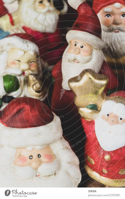Santa Clauses 2 Feasts & Celebrations Christmas & Advent Cap Decoration Kitsch Odds and ends Collection Collector's item Multicoloured Red Figure Pottery Clay
