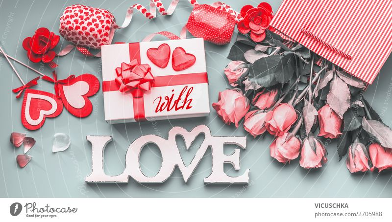 Romantic Valentine's Day Composing Style Design Decoration Party Event Feasts & Celebrations Flower Rose Bouquet Bow Characters Heart Flag Love Emotions Moody