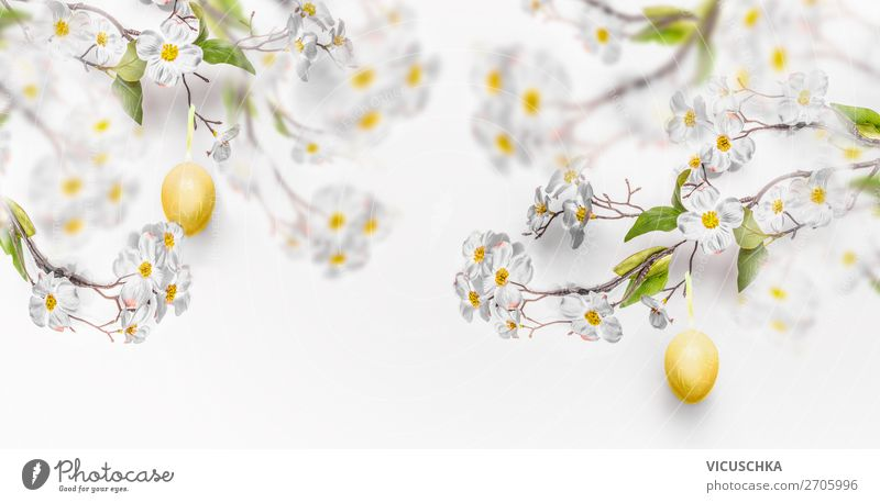 Hanging yellow Easter eggs and spring flowers Style Design Decoration Feasts & Celebrations Nature Spring Leaf Blossom Wall (barrier) Wall (building) Bouquet
