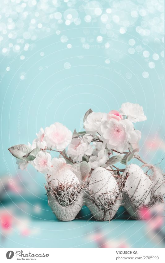 Easter background with flowers and eggs Style Design Life Feasts & Celebrations Nature Plant Spring Leaf Blossom Decoration Bouquet Pink Tradition Egg Bud
