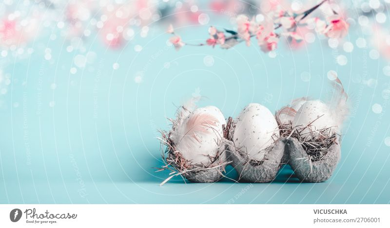 Easter background in pastel colours. Style Design Feasts & Celebrations Nature Spring Leaf Blossom Decoration Bouquet Flag Blue Pink Tradition