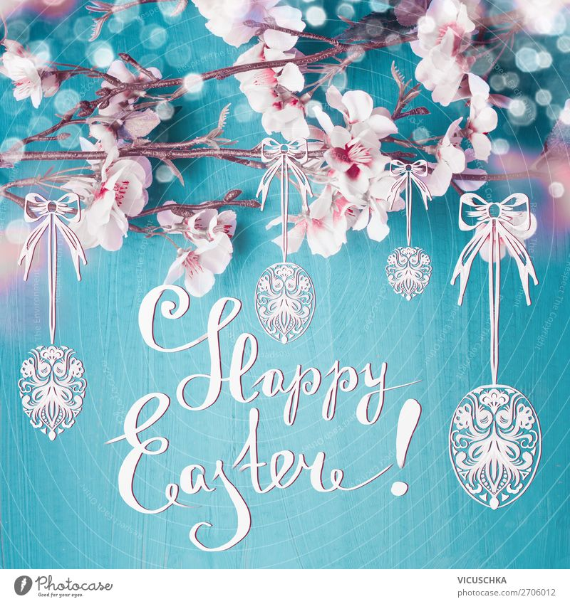 Happy Easter. Easter greeting card with text Style Design Decoration Feasts & Celebrations Nature Plant Spring Leaf Blossom Sign Yellow Pink Text