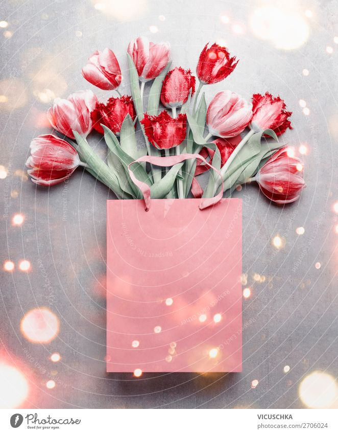 Red tulips in the gift bag. Shopping Design Feasts & Celebrations Valentine's Day Mother's Day Birthday Nature Plant Spring Flower Tulip Decoration Bouquet Love