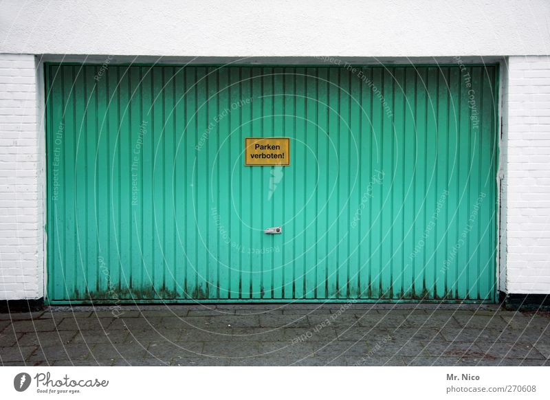 Life Architecture Building Car Closed Arrangement Signs and labeling Characters Signage Manmade structures Gate Turquoise Parking Garage Paving stone Private