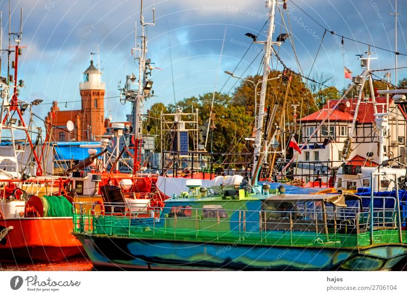 Port of Stolpmünde, Poland Vacation & Travel Tourism Adventure Far-off places Yacht harbour Exotic Blue Multicoloured Green Ustka Harbour Fishing port fischkut