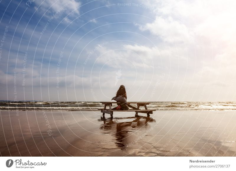 Dreaming at the Baltic Sea Vacation & Travel Adventure Far-off places Freedom Summer Beach Ocean Island Waves Human being Feminine Woman Adults Elements Sand