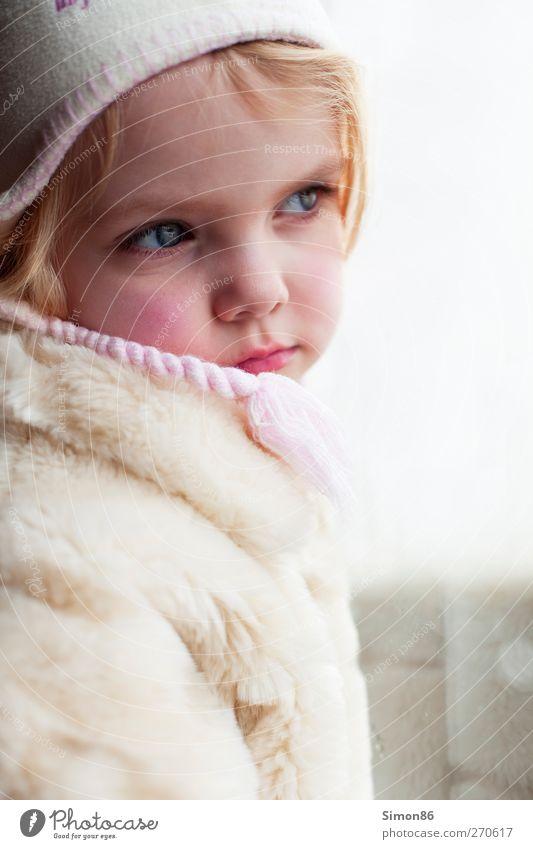 longing Human being Feminine Girl Infancy Body 1 3 - 8 years Child Fashion Coat Pelt Cap Blonde Think Looking Esthetic Curiosity Emotions Safety (feeling of)