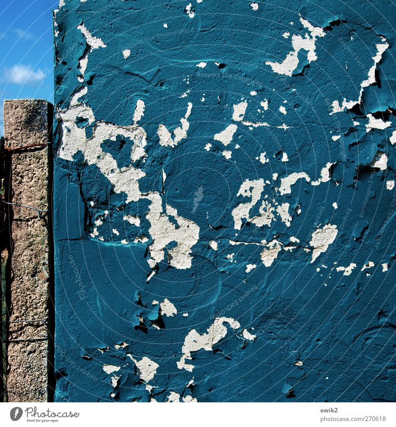 Sky Blue Old Colour Wall (building) Wall (barrier) Facade Concrete Crazy Change Transience Tracks Derelict Decline Chaos Crack & Rip & Tear