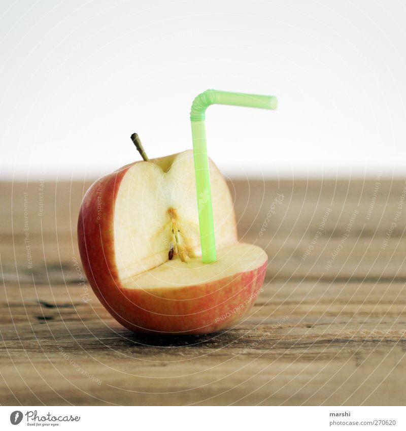 juicy Food Fruit Apple Nutrition Beverage Drinking Cold drink Lemonade Juice Green Red Apple juice Blade of grass Delicious Tasty Juicy Apple skin Fruity