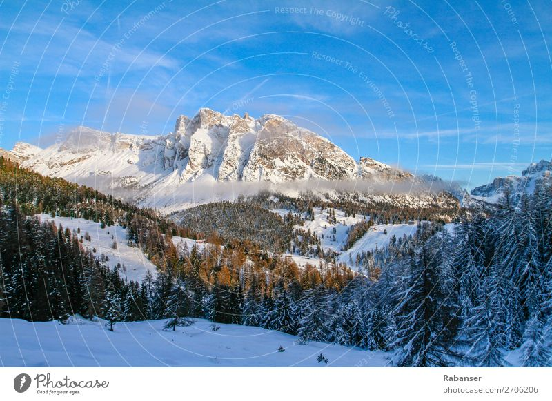 Pela de Vit in Val Gardena, South Tyrol Leisure and hobbies Blue Dolomites Italy Mountain cloud stone Federal State of Tyrol Clouds Snowfall Winter