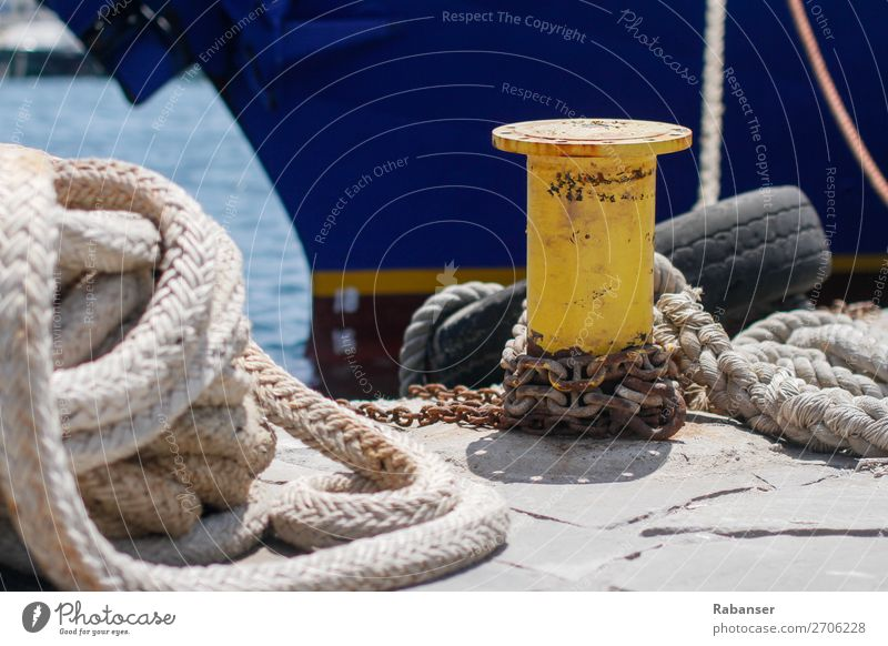 Old Blue Sun Ocean Yellow Watercraft Transport Technology Industry Rope Harbour Navigation Rust Chain Tire Means of transport