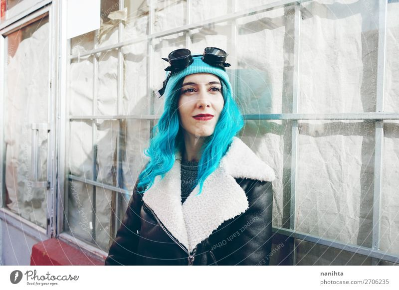Portrait of a punk or gothic young woman Woman Human being Youth (Young adults) Young woman Blue Colour Beautiful Clouds Joy 18 - 30 years Adults Feminine Style