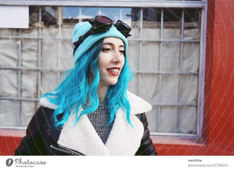 Portrait of a punk or gothic young woman smiling Woman Human being Youth (Young adults) Young woman Blue Town Colour Beautiful Clouds Joy 18 - 30 years