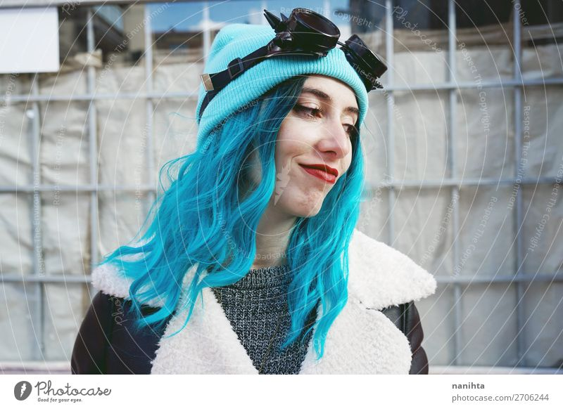 Portrait of a punk or gothic young woman smiling Woman Human being Youth (Young adults) Blue Colour Beautiful Clouds Joy 18 - 30 years Adults Funny Feminine