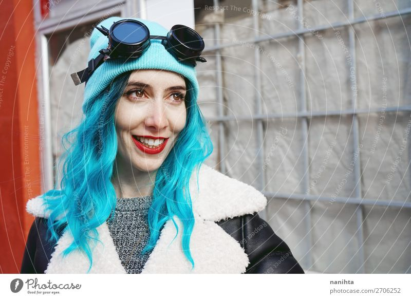 Portrait of a punk or gothic young woman smiling Woman Human being Youth (Young adults) Young woman Blue Town Colour Beautiful Clouds Joy 18 - 30 years Adults