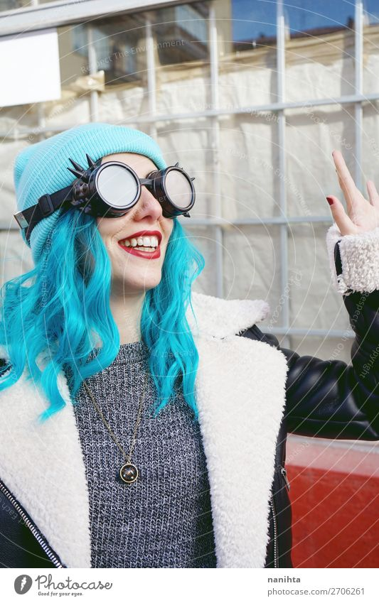 Portrait of a punk or gothic young woman smiling Woman Human being Youth (Young adults) Young woman Blue Colour Beautiful Clouds Joy 18 - 30 years Adults Funny