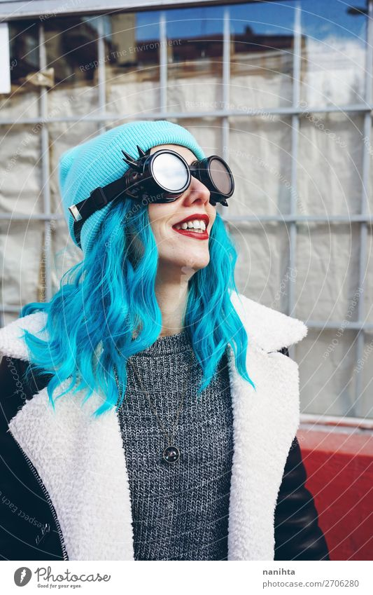 Portrait of a punk or gothic young woman Woman Human being Youth (Young adults) Young woman Blue Town Colour Beautiful Clouds Joy 18 - 30 years Adults Funny