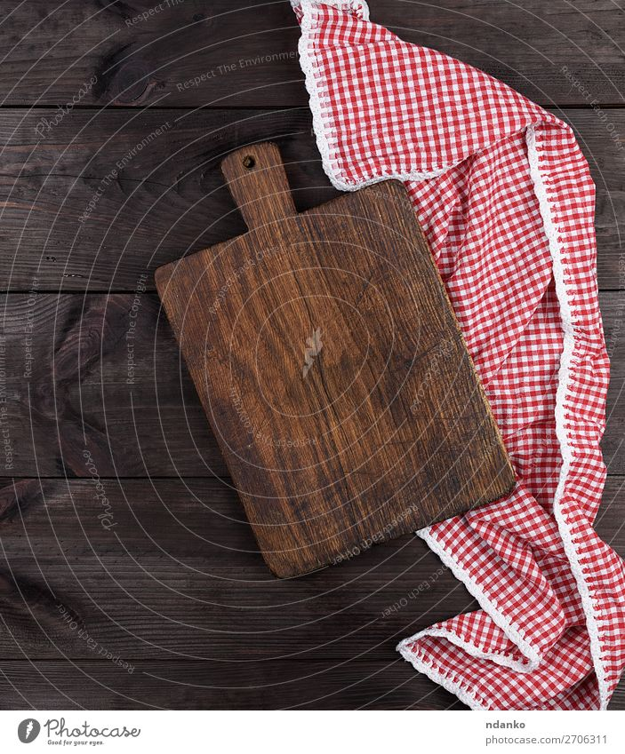Empty very old wooden kitchen cutting board Kitchen Wood Old Dirty Dark Above Retro Brown Red background Blank chopping cooking Copy Space empty food Grunge