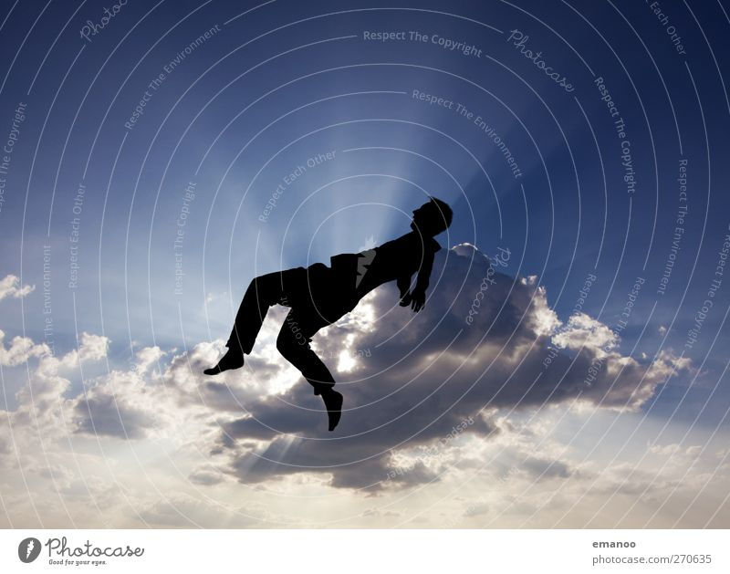 Human being Sky Man Youth (Young adults) Blue Clouds Adults Movement Freedom Jump Style Air Weather Power Tall Lifestyle