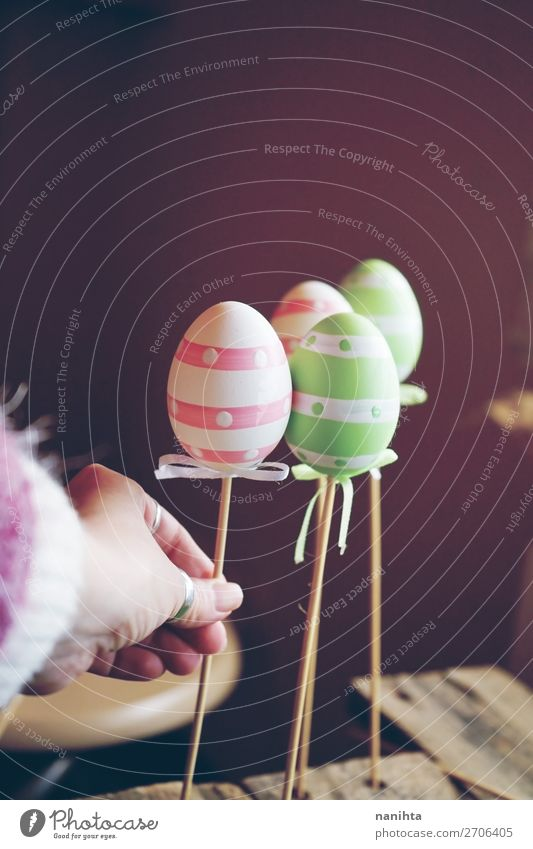 A beautiful close-up of 3 easter eggs on sticks Joy Happy Beautiful Feasts & Celebrations Easter Hand Art Artist Nature Funny Cute Colour Idea Creativity