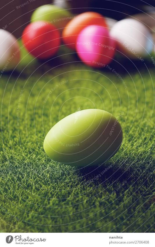 A beautiful and colorful close-up of green easter egg Food Egg Joy Happy Beautiful Feasts & Celebrations Easter Agriculture Forestry Nature Grass Funny Cute