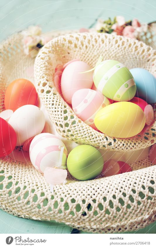 A beautiful and colorful close-up of easter eggs Joy Happy Beautiful Party Event Feasts & Celebrations Easter Spring Flower Funny Cute Colour Creativity
