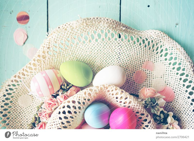 A beautiful and colorful close-up flat of easter eggs Joy Happy Table Party Event Feasts & Celebrations Easter Nature Wood Funny Cute Blue Colour Creativity