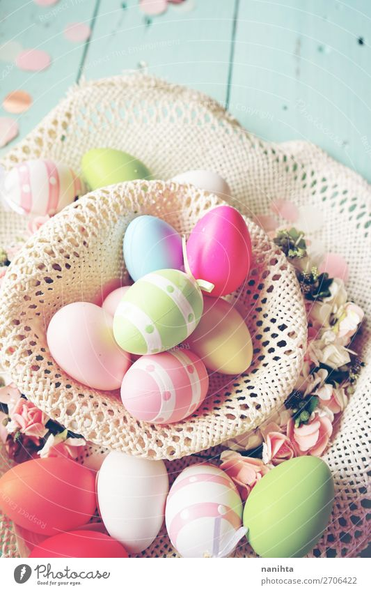 A beautiful and colorful close-up of easter eggs Joy Happy Table Feasts & Celebrations Easter Nature Wood Funny Cute Blue Colour Creativity Tradition Basket