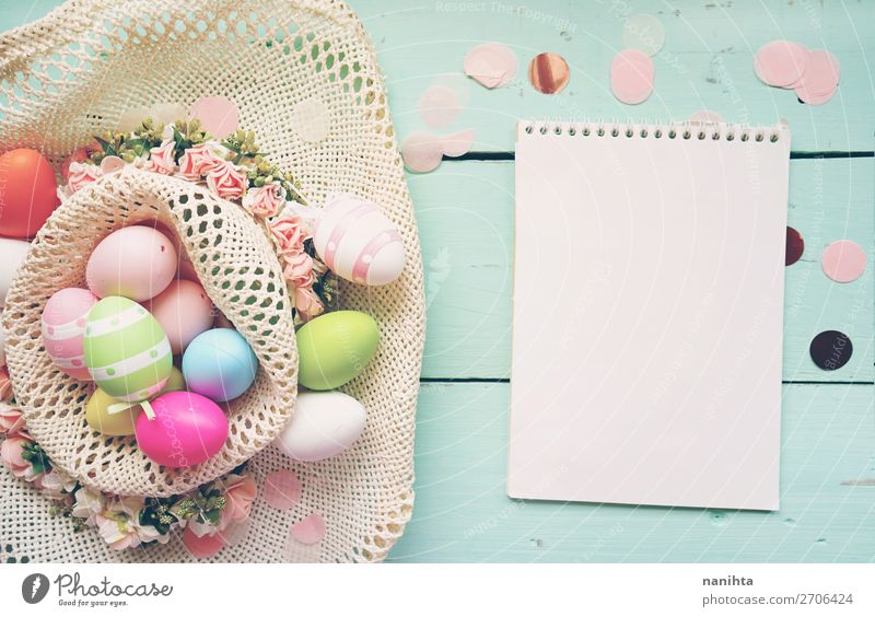 A beautiful and colorful close-up flat of easter eggs Joy Happy Beautiful Table Feasts & Celebrations Easter Nature Wood Funny Cute Blue Colour Creativity
