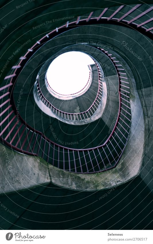 Top Manmade structures Architecture Stairs Winding staircase Line Banister Concrete Colour photo Exterior shot Deserted Light Shadow Contrast Worm's-eye view