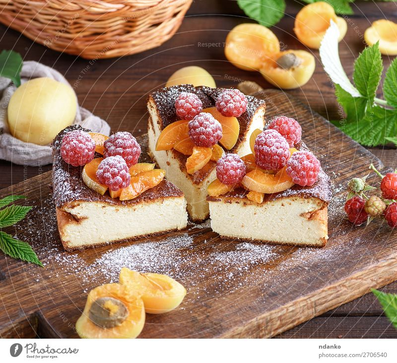 pie with raspberries and apricots Cheese Fruit Dessert Candy Nutrition Table Wood Fresh Delicious Brown Red White Colour Apricot background Baking Berries cake