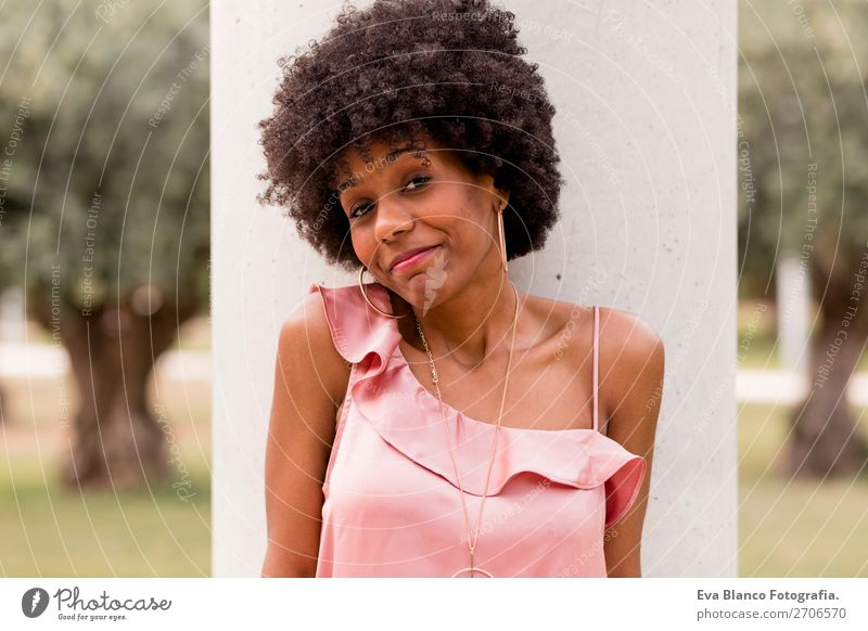 portrait of a beautiful afro american woman Lifestyle Happy Beautiful Hair and hairstyles Summer Woman Adults Landscape Park Fashion Afro Smiling Happiness Pink