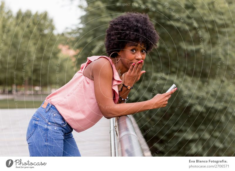 beautiful afroamerican woman talking on mobile phone Lifestyle Style Happy Beautiful Hair and hairstyles Leisure and hobbies Summer To talk Cellphone Technology