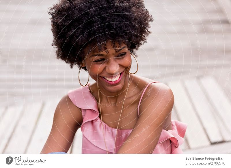 portrait of a beautiful afro american woman smiling Lifestyle Style Happy Beautiful Hair and hairstyles Leisure and hobbies Summer Sun Feminine Young woman