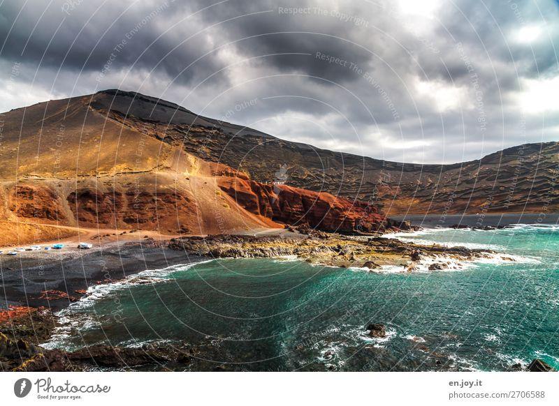 volcanic Vacation & Travel Tourism Trip Adventure Beach Ocean Landscape Storm clouds Climate Climate change Rock Volcano Waves Coast Island Lanzarote Wild