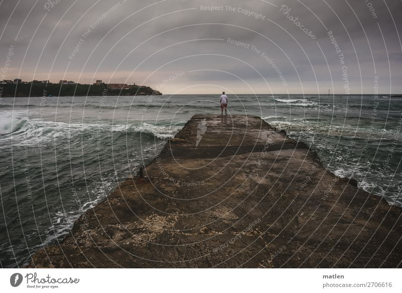 At the end Masculine Man Adults 1 Human being 30 - 45 years Landscape Water Sky Clouds Horizon Summer Bad weather Wind Waves Coast Bay Ocean Stand Dark
