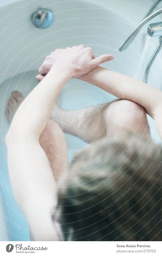 Human being Youth (Young adults) Water Cold Naked Swimming & Bathing Blonde Sit Young man Masculine Bathtub Bathroom Thin Long-haired Tap Bathtub water