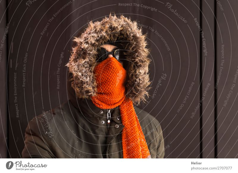 Human being Vacation & Travel Man Green Winter Black Adults Cold Snow Orange Brown Retro Ice Adventure Frost Jacket