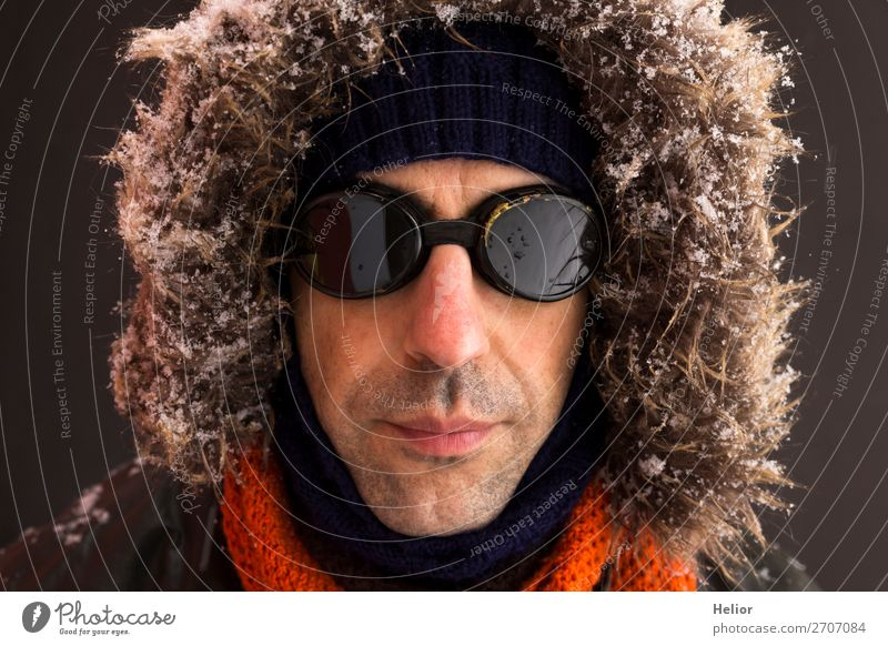 Human being Man Winter Black Adults Cold Snow Style Orange Brown Retro Ice Adventure Frost Jacket Sunglasses