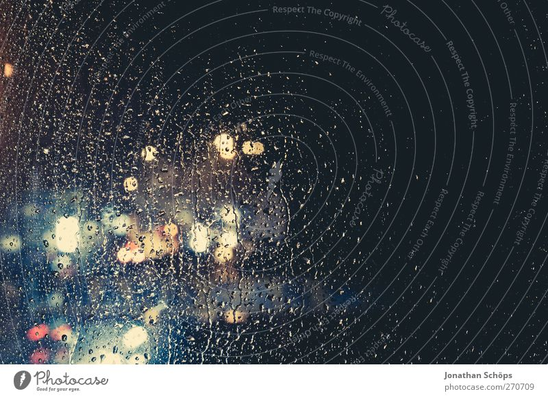 Rain drums on my window III Climate Bad weather Storm Gale Transport Esthetic Concern Grief Loneliness Sadness Town Blur Rainwater Night Night mood