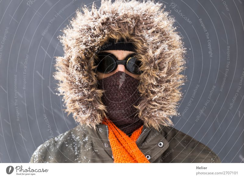 Human being Man Green Winter Black Adults Cold Snow Style Orange Brown Retro Ice Adventure Frost Cap