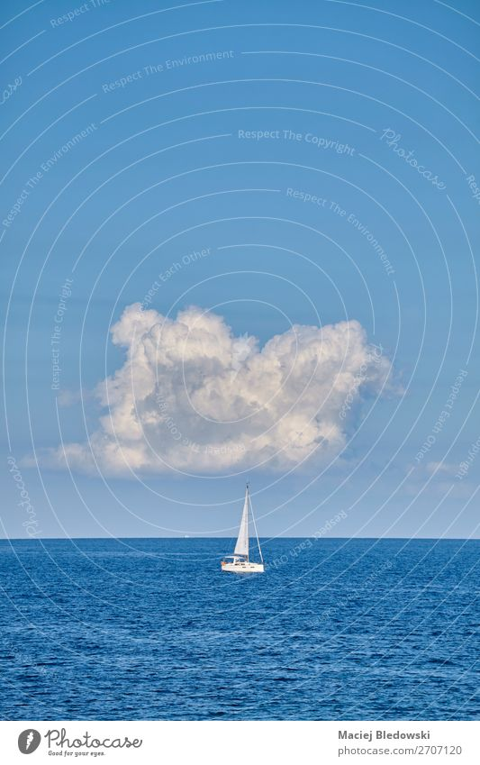 Lonely yacht on the horizon. Sky Vacation & Travel Nature Summer Blue Landscape Ocean Relaxation Clouds Loneliness Calm Joy Far-off places Lifestyle Tourism