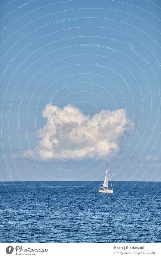 Lonely yacht on the horizon. Sky Vacation & Travel Nature Summer Landscape Ocean Relaxation Clouds Loneliness Far-off places Lifestyle Sports Coast Tourism