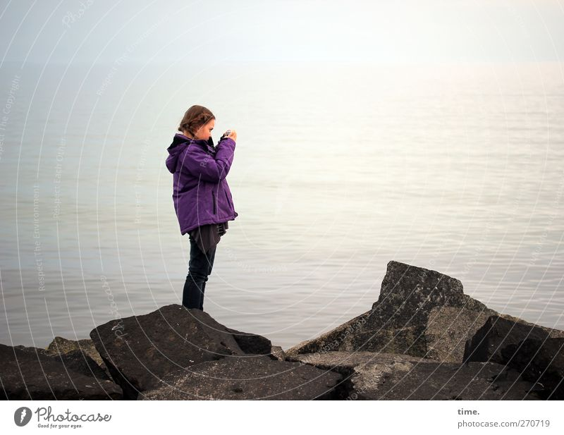 Human being Child Nature Water Girl Feminine Coast Stone Body Waves Infancy Stand Observe Creativity Concentrate Baltic Sea